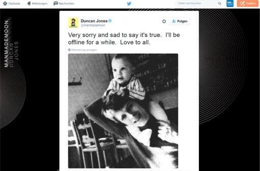 Bowies Sohn Duncan Jones hat die Nachricht vom Todes seines Vaters auf Twitter bestätigt. Foto: Twitter