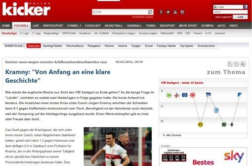 Der bKicker/b schreibt: Wie würde die englische Woche aus Sicht des VfB Stuttgart zu Ende gehen? So die bange Frage im Ländle, nachdem es zuletzt zwei Niederlagen in Folge gegeben hatte. Die kurze Antwort ist: bestens. Foto: Screenshot