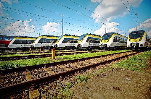 In Landesfarben: die neuen Züge zeigen deutlich, wohin sie gehören. Foto: Deutsche Bahn