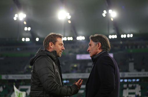 Der amtierende VfB-Trainer Markus Weinzierl und Ex-VfB-Coach Bruno Labbadia vor der Partie. Foto: Pressefoto Baumann