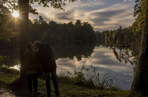 Sonnenuntergang an den Parkseen Stuttgart: Hier genießen Paare ihre Zeit zu zweit. Foto: 7aktuell.de/Oskar Eyb