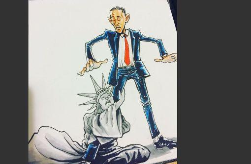 Amerika mag gar nicht lassen von Barack Obama, will dieser auf Twitter verbreitete Cartoon sagen. Foto: Twitter/@NeYoCompound