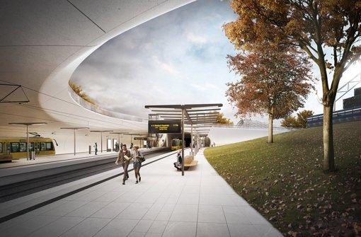So soll die neue Haltestelle am Schlossgarten aussehen Foto: Ingenhoven architects