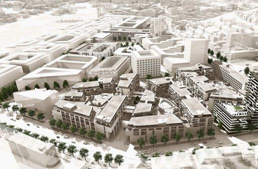 Im Modellbild des Europaviertels kommt mit dem Gebäudekomplex Cloud No.7 ein weiteres Puzzlestück hinzu: Er soll im Frühjahr 2016 fertig sein. Foto: Visualisierungen: Aldinger & Wolf
