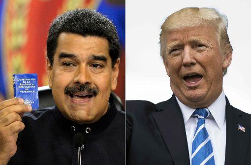Donald Trump (rechts) droht Venezuelas Präsident Nicolas Maduro. Foto: AFP