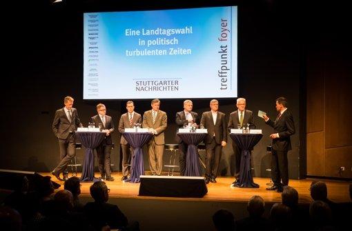 Die Spitzenkandidaten von Grüne, CDU, SPD, FDP, Linke und AfD lieferten sich einen Schlagabtausch.  Foto: Lichtgut/Max Kovalenko