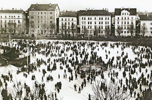 Eislaufen auf dem Feuersee im Jahr 1890. Foto: Stadtmedienzentrum