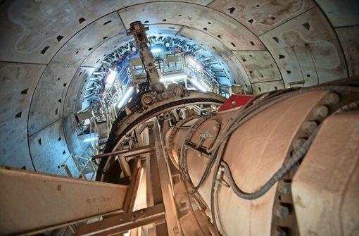 Der Fildertunnel beim Projekt Stuttgart 21 wird überwiegend mit einer riesigen Bohrmaschine hergestellt. Foto: dpa