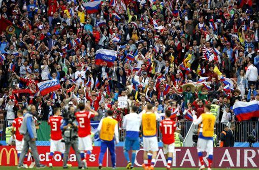 Jubel bei Russland nach dem Sieg im Eröffnungsspiel. Foto: Getty Images Europe