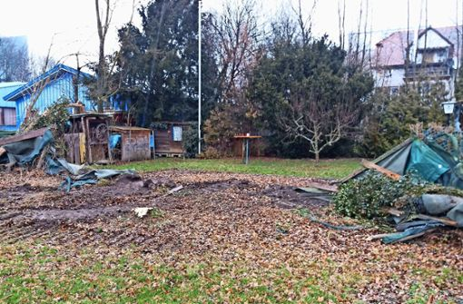 Schweres Gerät rollt in privaten Garten