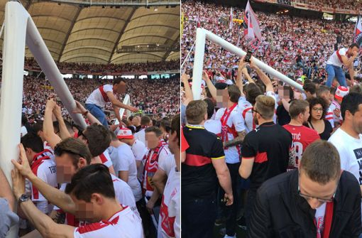 VfB-Fans zerstören Tor bei Platzsturm