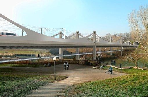 So schwungvoll überspannt die neue Bahnbrücke den Neckar. Foto: bgp design