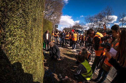Großes Presseaufgebot am 10. März, die Mooswand an der B14 ist aufgebaut. Foto: Lichtgut/Max Kovalenko
