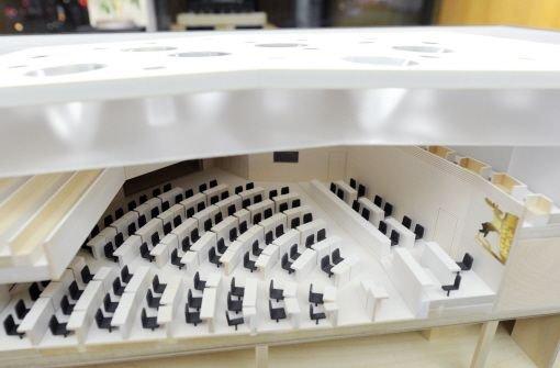 Ein Modell des umgebauten Landtags von Baden-Württemberg vom Architekturbüro Staab (Berlin). Foto: dpa