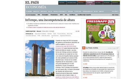 Screenshot von El Pais – die Zeitung hatte berichtet, in dem Wolkenkratzer habe man die Aufzüge vergessen. Dies weist der Bauträger zurück. Foto: StN