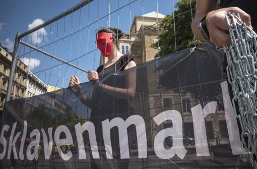 Protestaktion gegen moderne Sklaverei