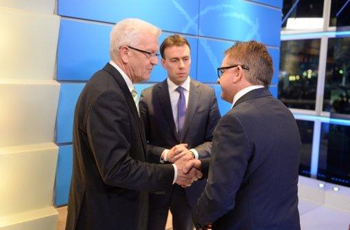 Wahlsieger Winfried Kretschmann, SPD-Spitzenkandidat Nils Schmid und CDU-Kandidat Guido Wolf. Foto: dpa