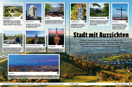 Stuttgart, die Stadt mit Aussichten: Eine der  52 Sammelseiten im neuen Panini-Album. Foto: Juststickit