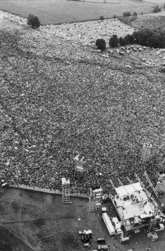 Luftaufnahme von Woodstock am 16. August 1969  Foto: AP