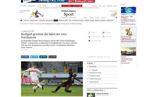 Für die FAZ gewinnt der VfB ein Spiel der 1001 Chancen. Foto: Screenshot red