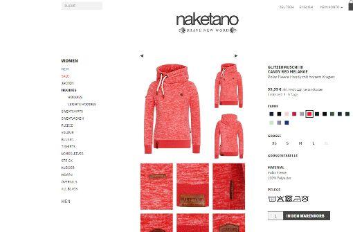 Die Pullover mit den dicken Kordeln der Firma Naketano sind im Trend. Doch  die Namen der Produkte gefallen nicht jedem. Einige wittern Sexismus. Foto: Screenshot Website Naketano