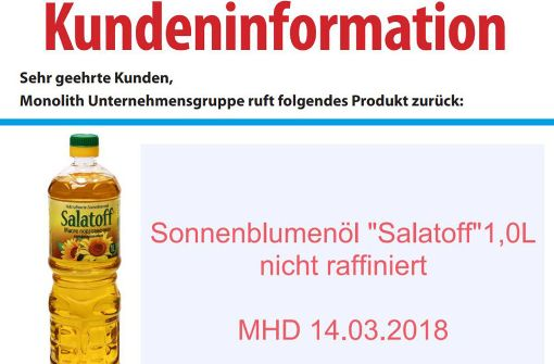 """Der Lebensmittelhersteller Monolith ruft das Sonnenblumenöl """"Salatoff"""" zurück. Foto: Monolith Deutschland Vertriebs GmbH"""