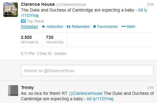 Los ging es noch hochoffiziell: Am Montagnachmittag um 5.11 Uhr twitterte Clarence House, die Residenz von Prinz Charles und seinen Söhnen, die freudige Botschaft. 2920 Mal (Stand: 4.12.12, 14.00 Uhr) wurde sie geretweeted. Foto: Screenshot Twitter