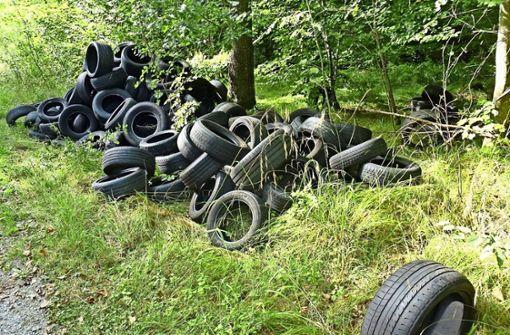 Im Wald wurden Reifen entsorgt. Foto: Polizei