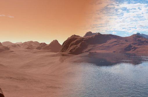 Von den sieben Planeten unseres Sonnensystems kommen nur die drei erdähnlichen Himmelskörper Venus, Merkur und Mars (hier eine Computersimulation von der Oberfläche des Roten Planeten) mit seinen Monden Phobos und Deimos für eine dauerhafte Besiedlung durch Menschen in Betracht. Foto: AFP