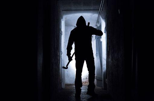 Einbrecher in Schiebetür gefangen