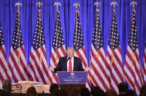 Vorwärtsverteidigung: Der künftige US-Präsident Donald Trump auf seiner Pressekonferenz im Trump Tower in New York Foto: AFP