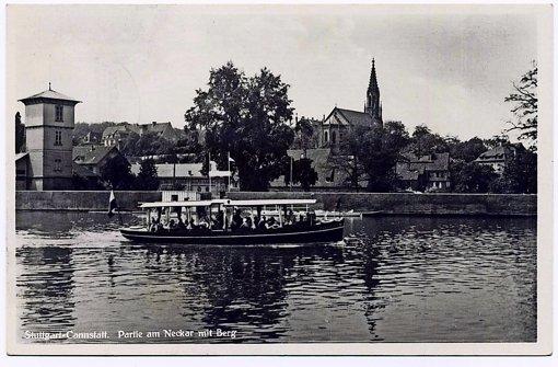 Bootstour auf dem Neckar vor dem Stadtteil Berg im Jahr 1933. Foto: Sammlung Gohl