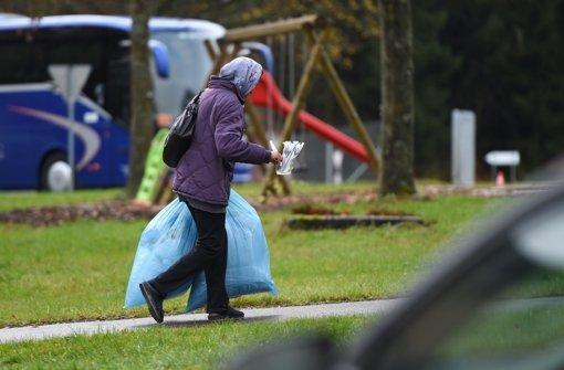 Eine Asylbewerberin in der neuen Erstaufnahmestelle in Meßstetten. Foto: dpa