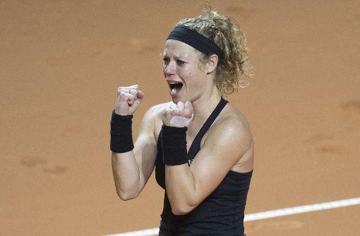 Emotionen pur: Laura Siegemund ist die Siegerin des Porsche Tennis Grand Prix in Stuttgart. Foto: AFP