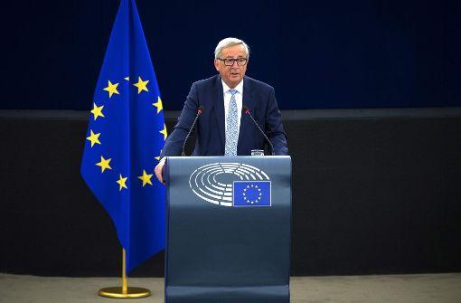 EU-Kommissionspräsident Jean-Claude Juncker bei seiner Grundsatzrede zur Zukunft der Europäischen Union. Foto: AFP