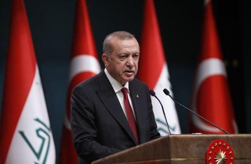 Der türkische Präsident Recep Tayyip Erdgoan spricht auf einer Pressekonferenz in Ankara. Foto: AP