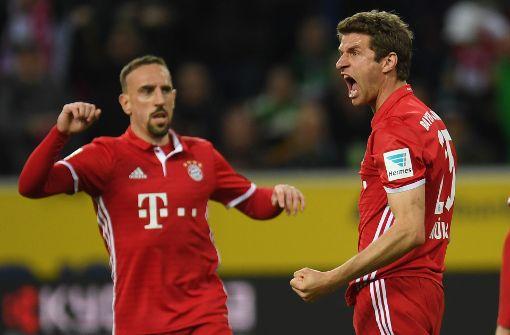Thomas Müller sorgte mit seinem Tor zum 1:0 für den Sieg des FC Bayern in Gladbach. Foto: AFP