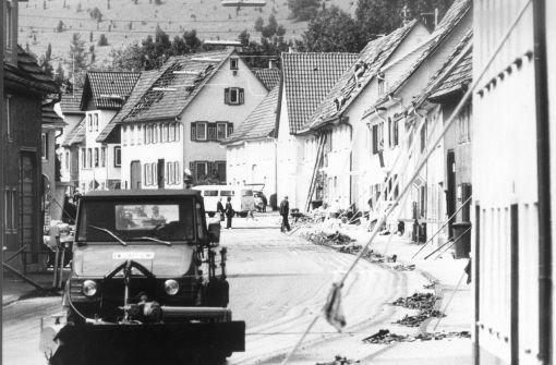 Tailfingen, 1978: Viele Häuser sind vom Einsturz bedroht Foto: Kraufmann