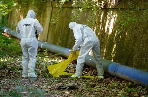 Grausiger Fund im Grünen: Zwei am Sonntagabend im Schlossgarten neben der Felix-Mendelssohn-Bartholdy-Allee gefundene Leichen geben der Polizei Rätsel auf. Foto: dpa
