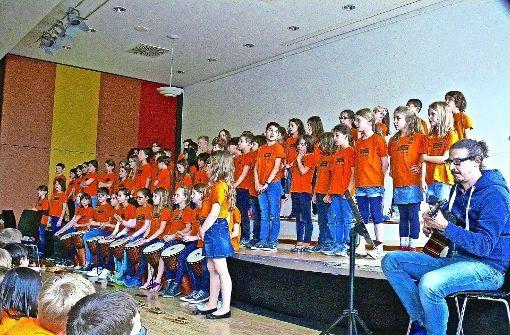 Die Grundschüler der Schwabschule haben zum ersten Mal beim Bürgerfest West mitgemacht und Lieder aus aller Welt gespielt und gesungen. Foto: Petra Mostbacher-Dix