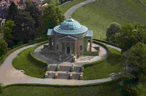 Die Grabkapelle auf dem Württemberg aus der Vogelperspektive. Foto: -Achim Mende