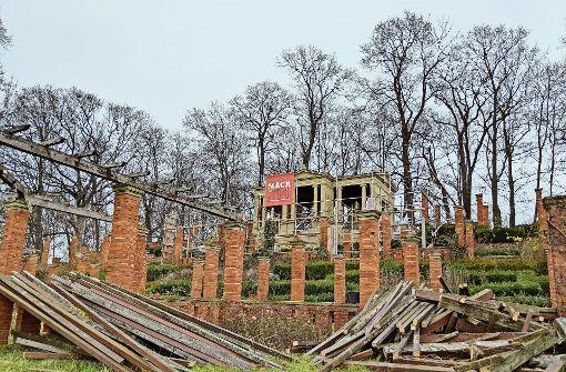 Teile des Rosengartens gleichen zurzeit eher einem Trümmerfeld. Foto: Jürgen Brand