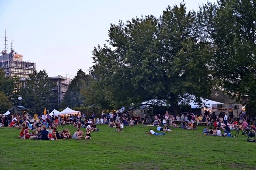 Auf der Wiese sammeln sich die Besucher und lauschen den Bands, die im Zelt spielen. Foto: Sandra Hintermayr