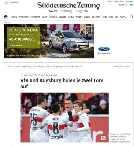 Die Süddeutsche spricht von einem turbulenten Endspurt.  Foto: Screenshot