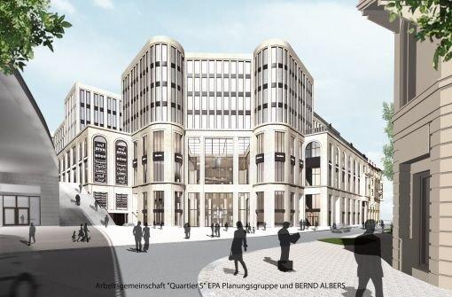 ...bQuartier S/b. brbBauherr/b: Württembergische LebensversicherungbrbBaubeginn/b: Mitte 2011 (Rohbau)brbFertigstellung/b: 2013/2014 brbGröße/b: 35.500 Quadratmeter für Büros und Läden, dazu 110 WohnungenbrbInvestition/b: 200 Millionen Eurobr Foto: Albers