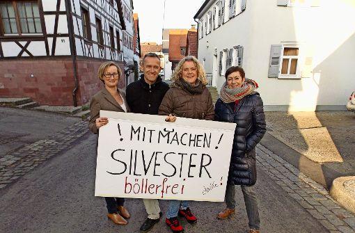 Vier Mitglieder der 15-köpfigen Gruppe, die sich für ein böllerfreies Silvester ausspricht (von links): Melanie Poschmann, Jürgen Geis, Inga Ritter und Gabi Kreder Foto: Holowiecki