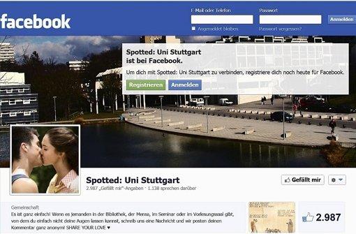 Fast 3000 Menschen gefällt die Facebookseite Spotted: Uni Stuttgart – Datenschützer sind weniger begeistert. Foto: Screenshot