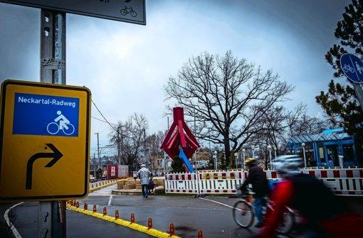 Eine der Fahrrad-Dauerzählstellen befindet sich am Mineralbad Leuze Foto: Lichtgut/Max Kovalenko