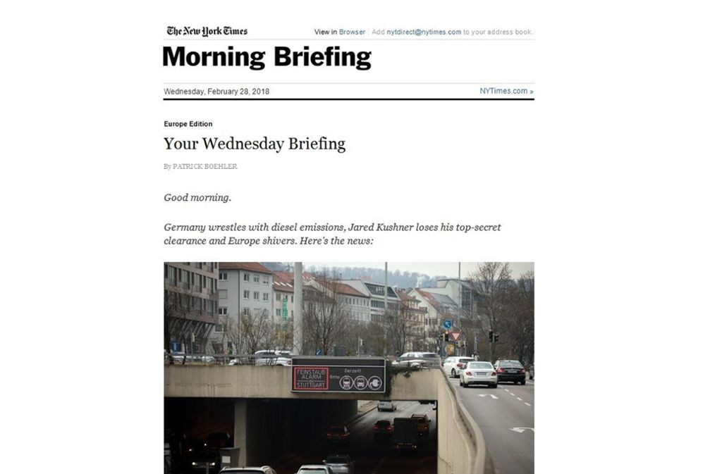 "Ein Screenshot des ""Morning Briefing"" mit dem Bild aus Stuttgart. Foto: Screenshot/www.nytimes.com"