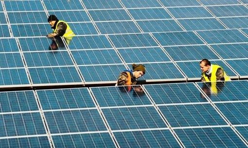 Arbeiter justieren die größte Solaranlage in Freiburg Foto: dapd